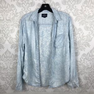 American Eagle Distressed Chambray Button Up Top